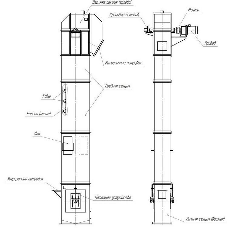 Вертикальный ленточный ковшовый элеватор фольксваген транспортер на запчасти купить